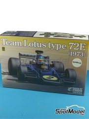 Ebbro: Model car kit 1/20 scale - Lotus Ford Type 72E John Player Special #1, 2 - Emerson Fittipaldi (BR), Ronnie Peterson (SE) - FIA Formula 1 World Championship 1972 and 1973 - plastic model kit