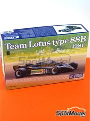 Ebbro: Model car kit 1/20 scale - Lotus Ford Type 88B Essex #11, 12 - Elio de Angelis (IT), Nigel Ernest James Mansell (GB) - British Grand Prix 1981 - plastic parts, rubber parts, water slide decals and assembly instructions