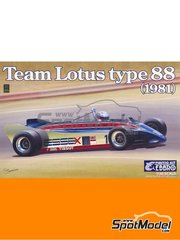 Ebbro: Model car kit 1/20 scale - Lotus Ford Type 88 Essex #11, 12 - Elio de Angelis (IT), Nigel Ernest James Mansell (GB) - USA West Long Beach Formula 1 Grand Prix 1981 - plastic parts, rubber parts, water slide decals and assembly instructions image