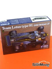 Ebbro: Model car kit 1/20 scale - Lotus Ford Type 91 John Player Special #11, 12 - Nigel Ernest James Mansell (GB), Elio de Angelis (IT) - British Grand Prix 1982 - plastic parts, water slide decals and assembly instructions image