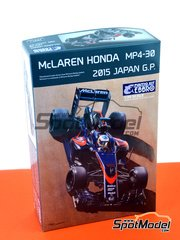 Ebbro: Model car kit 1/20 scale - McLaren Honda MP4/30 Mobil1 #14, 22 - Jenson Button (GB), Fernando Alonso (ES) - Japan Grand Prix 2015 - plastic parts, rubber parts, water slide decals and assembly instructions
