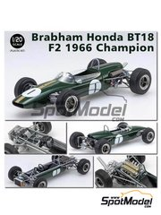 Ebbro: Model car kit 1/20 scale - Brabham Honda BT18 F2 1966 - plastic parts, water slide decals and assembly instructions