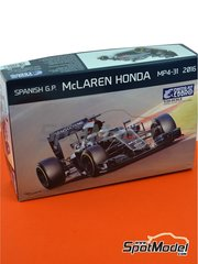 Ebbro: Model car kit 1/20 scale - McLaren Honda MP4/31 Mobil1 #14, 22, 47 - Fernando Alonso (ES), Jenson Button (GB), Stoffel Vandoorne (BE) - Spanish Grand Prix 2016 - plastic parts, rubber parts, water slide decals and assembly instructions