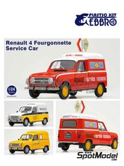 Ebbro: Model car kit 1/24 scale - Renault 4 Fourgonnette - plastic parts, rubber parts, water slide decals, assembly instructions and painting instructions image