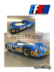 FFK Miniatures: Model car kit 1/12 scale - Matra MS 650 Equipe Matra ELF #8 - Henri Pescarolo (FR) + Jean-Pierre Beltoise (FR) - 24 Hours Le Mans, 1000 Kms Paris 1969 and 1970 - photo-etched parts, resin parts, rubber parts, vacuum formed parts and water slide decals