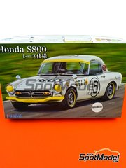Fujimi: Model car kit 1/24 scale - Honda S800 #16 - plastic parts, rubber parts, water slide decals, assembly instructions and painting instructions