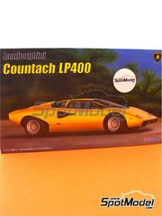 Fujimi: Model car kit 1/24 scale - Lamborghini Countach LP400 - plastic parts, rubber parts, water slide decals, assembly instructions and painting instructions image