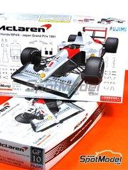 Fujimi: Maqueta de coche escala 1/20 - McLaren Honda MP4/6 Shell Nº 1, 2 - Ayrton Senna (BR), Gerhard Berger (AT) - Gran Premio de Japón 1991 - maqueta de plástico