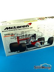 Fujimi: Model car kit 1/20 scale - McLaren Honda MP4/5 Marlboro Shell #1, 2 - Ayrton Senna (BR), Alain Prost (FR) - Spanish Grand Prix 1989 - plastic model kit image