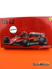 Fujimi: Model car kit 1/20 scale - Ferrari 126C2 Agip Fiat #27, 28 - Gilles Villeneuve (CA), Didier Pironi (FR) - FIA Formula 1 World Championship 1982 - plastic parts, rubber parts, water slide decals, assembly instructions and painting instructions