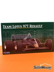 Fujimi: Model car kit 1/20 scale - Lotus Renault 97T Olympus #11, 12 - Ayrton Senna (BR), Elio de Angelis (IT) - Portuguese Grand Prix 1985 - plastic parts, rubber parts, water slide decals and assembly instructions