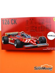 Fujimi: Model car kit 1/20 scale - Ferrari 126 CK Michelin #27, 28 - Gilles Villeneuve (CA), Didier Pironi (FR) - FIA Formula 1 World Championship 1981 - plastic parts, rubber parts, water slide decals, assembly instructions and painting instructions