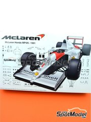 Fujimi: Model car kit 1/20 scale - McLaren Honda MP4/6 Shell #1, 2 - Ayrton Senna (BR), Gerhard Berger (AT) - Brazilian Formula 1 Grand Prix, Japanese Formula 1 Grand Prix, San Marino Formula 1 Grand Prix 1991 - plastic parts, rubber parts, water slide decals, assembly instructions and painting instructions
