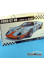 Fujimi: Maqueta de coche escala 1/24 - Ford GT40 Mk II Gulf Nº 9, 10, 11 - Pedro Rodriguez (MX) + Lucien Bianchi (BE) - 24 Horas de Le Mans 1968 - maqueta de plástico