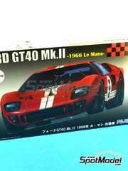 Fujimi: Model car kit 1/24 scale - Ford GT40 Mk II #3, 6 - Chris Amon (NZ) + Bruce McLaren (NZ) - 24 Hours Le Mans 1966 - plastic model kit, photo-etch image