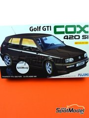 Fujimi: Model car kit 1/24 scale - Volkswagen Golf GTI Cox 420 SI - paint masks, plastic parts, rubber parts, water slide decals, assembly instructions and painting instructions