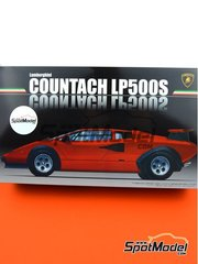 Fujimi: Model car kit 1/24 scale - Lamborghini Countach LP500S - plastic parts, rubber parts, water slide decals, assembly instructions and painting instructions