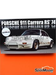 Fujimi: Model car kit 1/24 scale - Porsche 911 Carrera RS 3.0 1974 - plastic parts, rubber parts, water slide decals, assembly instructions and painting instructions