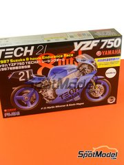 Fujimi: Model bike kit 1/12 scale - Yamaha YZF750 Tech21 #21 - Martin Wimmer (DE) + Kevin Magee (AU) - 8 Hours Suzuka Endurance Race 1987 - plastic parts, rubber parts, water slide decals and assembly instructions