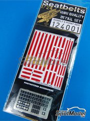 HGW: Seatbelts 1/24 scale - Sabelt 6 point seatbelt - Red color - photo-etched parts and seatbelt fabric