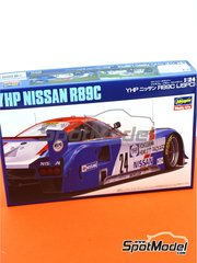Hasegawa: Model car kit 1/24 scale - Nissan R89C Yokogawa Hewlett Packard #24 - Masahiro Hasemi (JP) + Anders Olofsson (SE) - Japan Sport Prototype Endurance Championship - JSPC 1989 - plastic parts, rubber parts, water slide decals and assembly instructions