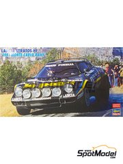 Hasegawa: Model car kit 1/24 scale - Lancia Stratos HF Team Chardonnet #4 - Bernard Darniche (FR) + Alain Mahé (FR) - Montecarlo Rally 1981 - plastic parts, rubber parts, water slide decals and assembly instructions image