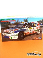 Hasegawa: Model car kit 1/24 scale - Toyota Corolla WRC Castrol Movistar #5 - Carlos Sainz (ES) + Luis Moya (ES), Didier Auriol (FR) + Denis Giraudet (FR) - Montecarlo Rally 1998 - paint masks, photo-etched parts, plastic parts, rubber parts, water slide decals, other materials and assembly instructions image
