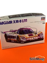 Hasegawa: Model car kit 1/24 scale - Jaguar XJR-8 LM Silk Cut #4, 5, 6 - Eddie Cheever (US) + Raul Boesel (BR), Jan Lammers (NL) + John Watson (GB) + Win Percy (GB), Martin Brundle (GB) + John Nielsen (DK) + Armin Hahne (DE) 1987 - plastic parts, rubber parts, water slide decals and assembly instructions image