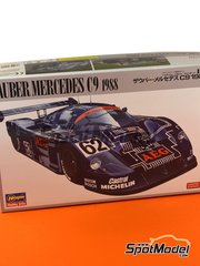 Hasegawa: Model car kit 1/24 scale - Sauber Mercedes C9 AEG #61, 62 - Stefan Johansson (SE), Jean-Louis Schlesser (FR) + Jochen Mass (DE) - 24 Hours Le Mans 1988 - plastic parts, rubber parts, water slide decals and assembly instructions image