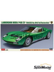 Hasegawa: Model car kit 1/24 scale - Lamborghini Miura P400 SV - plastic parts, rubber parts, water slide decals and assembly instructions