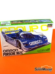 Hasegawa: Model car kit 1/24 scale - Porsche 962C Omron #55 - Vern Schuppan (AU) + Elgh + Matsumoto - 1000  kilometers Fuji 1989 - plastic parts, water slide decals and assembly instructions