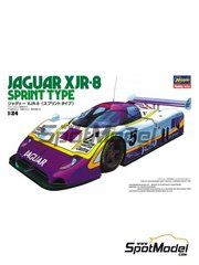 Hasegawa: Model car kit 1/24 scale - Jaguar XJR-8 Sprint Type #4, 5 - FIA World Sports-Prototype Championship - WSPC 1987 - plastic parts, rubber parts, water slide decals and assembly instructions