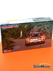 Hasegawa: Model car kit 1/24 scale - Lancia Stratos HF Chardonnet - Tour de Corse 1975 - plastic parts, water slide decals and assembly instructions