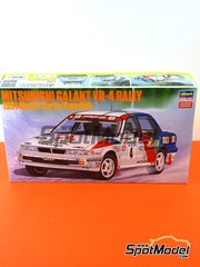 Hasegawa: Model car kit 1/24 scale - Mitsubishi Galant VR-4 Ralli Art #4 - Timo Salonen (FI) + Voitto Silander (FI), Kenneth Eriksson (SE) + Staffan Parmander (SE) - Montecarlo Rally, Swedish Grand Prix 1991 - photo-etched parts, plastic parts, rubber parts, seatbelt fabric, water slide decals and assembly instructions image