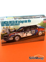 Hasegawa: Model car kit 1/24 scale - Lancia Delta HF Integrale 16v Martini Racing #2 - Juha Kankkunen (FI) + Juha Piironen (FI) - 1000 Lakes Finland Rally 1991 - photo-etched parts, plastic parts, rubber parts, seatbelt fabric, water slide decals, other materials and assembly instructions - for Shunko Models kit SHK-D334
