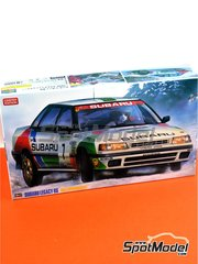 Hasegawa: Model car kit 1/24 scale - Subaru Legacy RS Subaru Rally Team Europe #7 - Colin McRae (GB) + Derek Ringer (GB) - Svezia Sweden Rally 1992 - plastic parts, rubber parts, water slide decals and assembly instructions