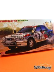 Hasegawa: Model car kit 1/24 scale - Mitsubishi Galant VR-4 Ralli Art #7 - John Meadows (GB) + Kenjiro Shinozuka (JP) - Safari Rally 1992 - photo-etched parts, plastic parts, rubber parts, water slide decals, other materials, assembly instructions and painting instructions