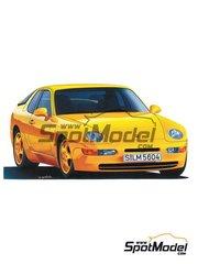 Hasegawa: Maqueta de coche escala 1/24 - Porsche 968 Club Sport - piezas de plástico, piezas de goma, calcas de agua y manual de instrucciones