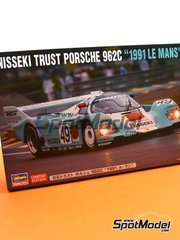 Hasegawa: Model car kit 1/24 scale - Porsche 962C Nisseki Trust #49 - 24 Hours Le Mans 1991 - plastic parts, rubber parts, water slide decals and assembly instructions