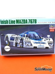 Hasegawa: Model car kit 1/24 scale - Mazda 767B Finish Line #201 - Dave Kennedy (IE) + Pierre Dieudonne (BE) + C. Hodgetts (GB) - 24 Hours Le Mans 1989 - plastic parts, rubber parts, water slide decals, assembly instructions and painting instructions