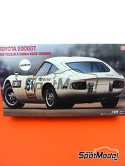 Hasegawa: Model car kit 1/24 scale - Toyota 2000GT #60, 61 - Hiroshi Fushida (JP) - Suzuka 500km 1967 - plastic parts, rubber parts, water slide decals, assembly instructions and painting instructions