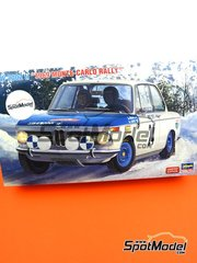 Hasegawa: Model car kit 1/24 scale - BMW 2002 tii #24 - Timo Mäkinen (FI) + Paul Easter (FI) - Montecarlo Rally - Rallye Automobile de Monte-Carlo 1969 - plastic parts, rubber parts, water slide decals, other materials, assembly instructions and painting instructions