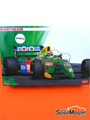 Hasegawa: Model car kit 1/24 scale - Benetton Ford B190 Autopolis #19, 20 - Nelson Piquet (BR), Roberto Moreno (BR) - Japan Grand Prix 1990 - plastic parts, rubber parts, water slide decals, assembly instructions and painting instructions image