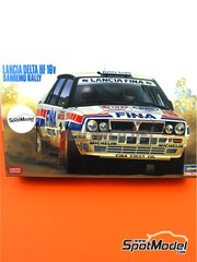 Hasegawa: Model car kit 1/24 scale - Lancia Delta HF 16v Fina #1 - Didier Auriol (FR) + Bernard Occelli (FR) - Sanremo Rally 1991 - photo-etched parts, plastic parts, rubber parts, seatbelt fabric, water slide decals, assembly instructions and painting instructions