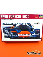 Hasegawa: Model car kit 1/24 scale - Porsche 962C Brun Motorsport Team #6 - FIA World Sports-Prototype Championship - WSPC 1988 - plastic parts, rubber parts, water slide decals, assembly instructions and painting instructions