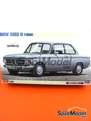 Hasegawa: Model car kit 1/24 scale - BMW 2002 ti 1968 - plastic parts, rubber parts, water slide decals and assembly instructions