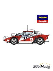 Hasegawa: Model car kit 1/24 scale - Lancia Stratos HF Seree R6 #27 - Isabella Bignardi (IT) + Luisa Zumelli (IT) - Targa Florio 1982 - plastic parts, water slide decals, other materials and assembly instructions