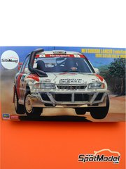 Hasegawa: Model car kit 1/24 scale - Mitsubishi Lancer Evo III #7 - Safari Rally 1996 - plastic parts, rubber parts, water slide decals, assembly instructions and painting instructions