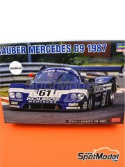 Hasegawa: Model car kit 1/24 scale - Sauber Mercedes C9 Kouros #61 - Mike Thackwell (NZ) + Henri Pescarolo (FR) + Hideki Okada (JP), Johnny Dumfries (GB) + Chip Ganassi (US) - 24 Hours Le Mans 1987 - plastic parts, rubber parts, water slide decals, assembly instructions and painting instructions