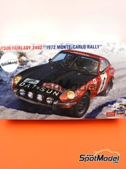 Hasegawa: Model car kit 1/24 scale - Datsun Fairlady 240Z Nissan Motors #5 - Rauno Aaltonen (FI) + Jean Todt (FR) - Montecarlo Rally 1972 - plastic parts, rubber parts, water slide decals, other materials and assembly instructions